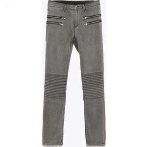 Zara Midrise Moto Skinny Jeans Zip Back Pin Tuck Pleated Knee Gray Womens Size 6